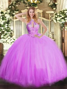 Pretty Lilac Sleeveless Floor Length Beading Lace Up Sweet 16 Dresses