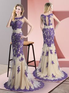 Scoop Sleeveless Prom Dress Sweep Train Beading and Appliques Champagne Tulle