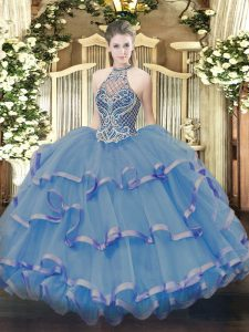Fashionable Sleeveless Beading and Ruffles Lace Up Quinceanera Gown