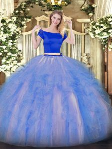 Blue And White Short Sleeves Tulle Zipper Sweet 16 Dress for Military Ball and Sweet 16 and Quinceanera