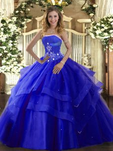 Floor Length Royal Blue Sweet 16 Dress Tulle Sleeveless Beading and Ruffled Layers