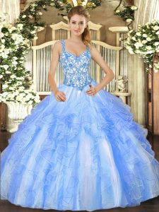 Custom Fit Beading and Ruffles Quinceanera Gown Blue And White Lace Up Sleeveless Floor Length