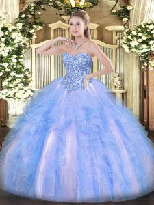 Trendy Blue And White Sweetheart Neckline Appliques and Ruffles 15 Quinceanera Dress Sleeveless Lace Up