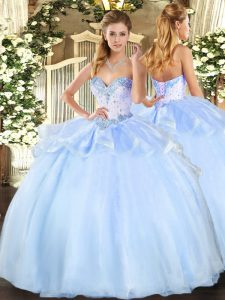 Sleeveless Organza Floor Length Lace Up Quince Ball Gowns in Light Blue with Beading