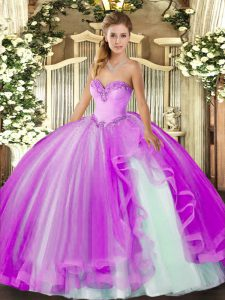 Pretty Floor Length Ball Gowns Sleeveless Lilac Quinceanera Dress Lace Up