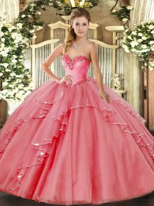Watermelon Red Ball Gowns Beading and Ruffled Layers Quince Ball Gowns Lace Up Tulle Sleeveless Floor Length