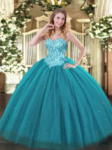 Pretty Sleeveless Floor Length Appliques Lace Up Quince Ball Gowns with Teal