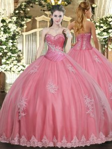 Trendy Floor Length Ball Gowns Sleeveless Watermelon Red Quinceanera Gown Lace Up