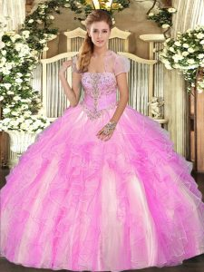 Sleeveless Floor Length Appliques and Ruffles Lace Up Quince Ball Gowns with Lilac