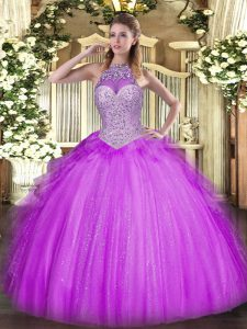 Lilac Sleeveless Beading and Ruffles Floor Length Quinceanera Gowns