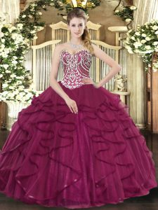 Burgundy Lace Up Sweetheart Beading and Ruffles Vestidos de Quinceanera Tulle Sleeveless