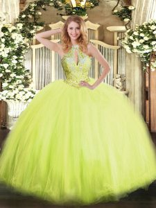 Sumptuous Halter Top Sleeveless Quinceanera Dress Floor Length Beading Yellow Green Tulle