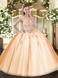 Glamorous Ball Gowns Quinceanera Dresses Peach Scoop Tulle Sleeveless Floor Length Zipper