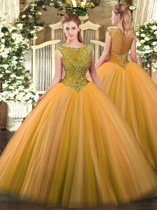 Gold Sleeveless Beading Zipper Quinceanera Gowns