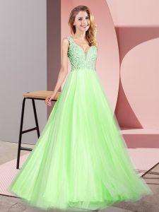 Fashion Yellow Green A-line V-neck Sleeveless Tulle Floor Length Zipper Lace Prom Gown