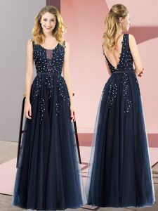 Custom Design Floor Length Navy Blue Prom Party Dress Tulle Sleeveless Beading and Appliques