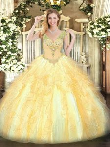 Gold Organza Lace Up V-neck Sleeveless Floor Length 15 Quinceanera Dress Beading and Ruffles