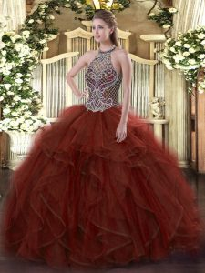 Fitting Rust Red Sweet 16 Quinceanera Dress Sweet 16 and Quinceanera with Beading and Ruffles Halter Top Sleeveless Lace Up