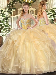 Elegant Champagne Ball Gowns Organza Sweetheart Long Sleeves Beading and Ruffles Floor Length Lace Up Quinceanera Gowns
