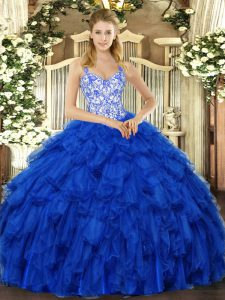 Beading and Ruffles Quinceanera Dresses Royal Blue Lace Up Sleeveless Floor Length