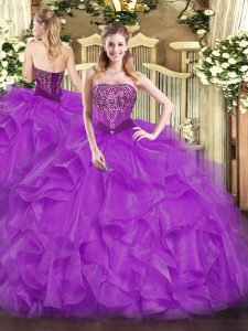 Stylish Purple Ball Gowns Beading and Ruffles Sweet 16 Quinceanera Dress Lace Up Organza Sleeveless Floor Length