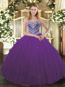Chic Purple Lace Up Sweetheart Beading Quinceanera Gowns Tulle Sleeveless