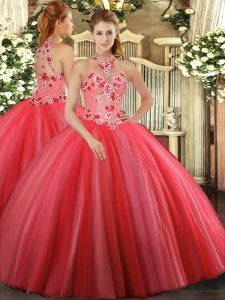 Most Popular Coral Red Sleeveless Floor Length Embroidery Lace Up 15th Birthday Dress
