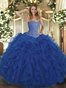 Royal Blue Tulle Lace Up Sweetheart Sleeveless Floor Length Sweet 16 Quinceanera Dress Beading and Ruffles