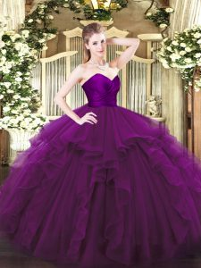 Low Price Ruffles Sweet 16 Quinceanera Dress Purple Zipper Sleeveless Floor Length