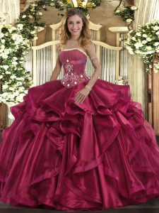 Fantastic Strapless Sleeveless Lace Up Quince Ball Gowns Red Organza