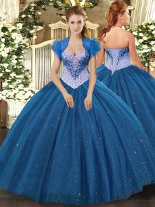 Hot Sale Navy Blue Sleeveless Tulle Lace Up Vestidos de Quinceanera for Military Ball and Sweet 16 and Quinceanera