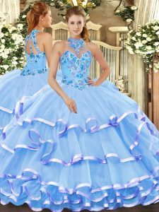 Pretty Baby Blue Halter Top Lace Up Beading and Embroidery Sweet 16 Dresses Sleeveless