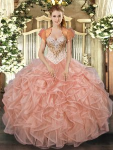 Elegant Peach Quinceanera Dress Military Ball and Sweet 16 and Quinceanera with Beading and Ruffles Sweetheart Sleeveless Lace Up