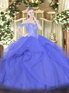 Blue Ball Gowns Beading and Ruffles Ball Gown Prom Dress Lace Up Tulle Sleeveless Floor Length