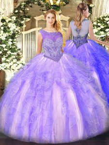 Ball Gowns 15 Quinceanera Dress Lavender Scoop Organza Sleeveless Floor Length Lace Up