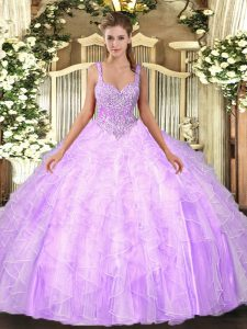 Fashion Floor Length Lace Up Party Dresses Lilac for Military Ball and Sweet 16 and Quinceanera with Beading and Ruffles