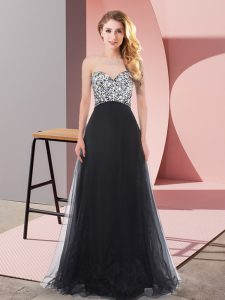 Sweet Floor Length Lace Up Dress for Prom Black for Prom and Party with Beading