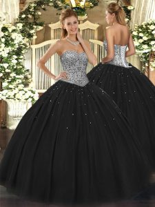 Sophisticated Black Sleeveless Floor Length Beading Lace Up Party Dress for Girls