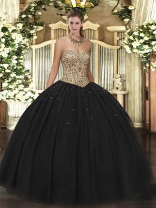 Sweetheart Sleeveless Lace Up Sweet 16 Quinceanera Dress Black Tulle