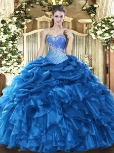 Blue Ball Gowns Sweetheart Sleeveless Organza Floor Length Lace Up Beading and Ruffles and Pick Ups Sweet 16 Dress