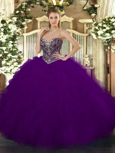 Dark Purple Sweetheart Lace Up Beading and Ruffles Quinceanera Gowns Sleeveless