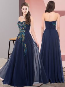 Nice Sleeveless Floor Length Embroidery Lace Up Prom Dresses with Navy Blue