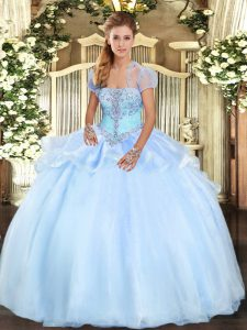 Light Blue Organza Lace Up Quinceanera Gown Sleeveless Floor Length Appliques