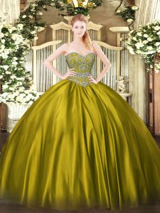 Sumptuous Olive Green Sweetheart Lace Up Beading Quinceanera Dresses Sleeveless