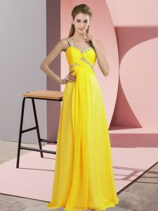 Yellow Lace Up One Shoulder Beading Prom Gown Chiffon Sleeveless
