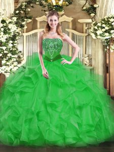 Exquisite Green Strapless Lace Up Beading and Ruffles Ball Gown Prom Dress Sleeveless