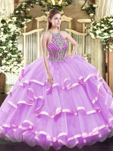 Perfect Sleeveless Beading and Ruffled Layers Lace Up Quinceanera Dress