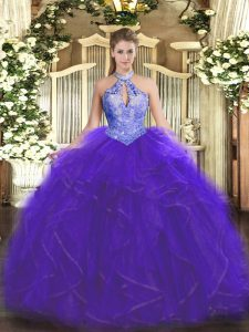 High Class Ball Gowns Quinceanera Dresses Purple Halter Top Organza Sleeveless Floor Length Lace Up