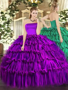 Stunning Purple Strapless Zipper Ruffled Layers Quinceanera Dresses Sleeveless