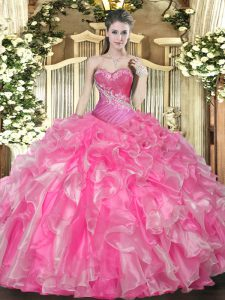 High Quality Organza Sweetheart Sleeveless Lace Up Beading and Ruffles Sweet 16 Quinceanera Dress in Hot Pink